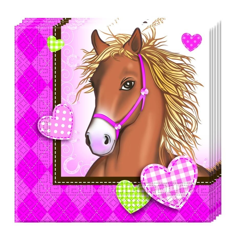 Hest rosa servietter pk/20