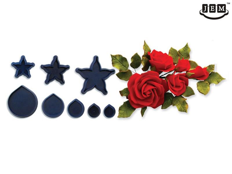 JEM utstikker Rose, blader og blomster, 8 deler