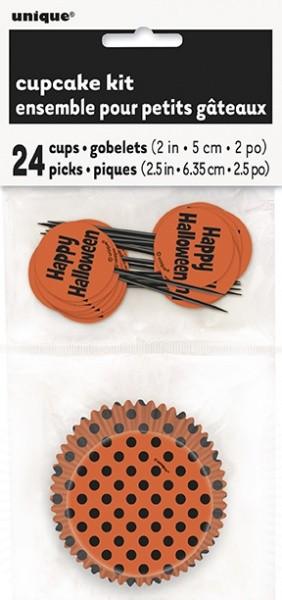 Muffinsformer med picks til halloween -Svart og oransje- pk/24