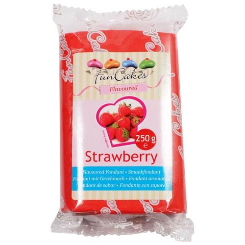 Rød fondant med jordbærsmak fra FunCakes, 250g