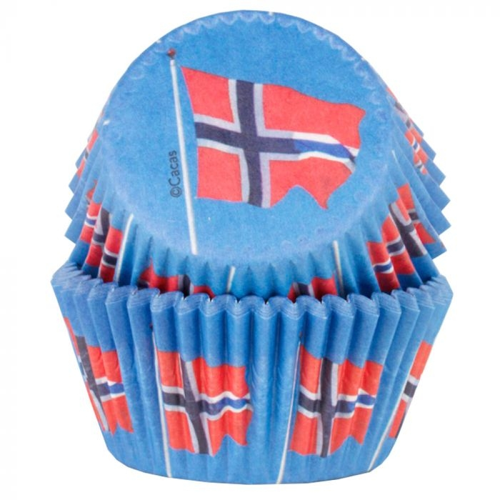 Muffinsform Norske flagg, 50 Stk