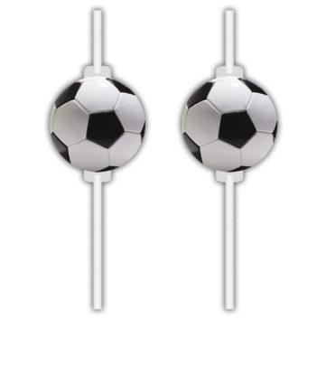 Sugerør med dekor - Fotball pk/4