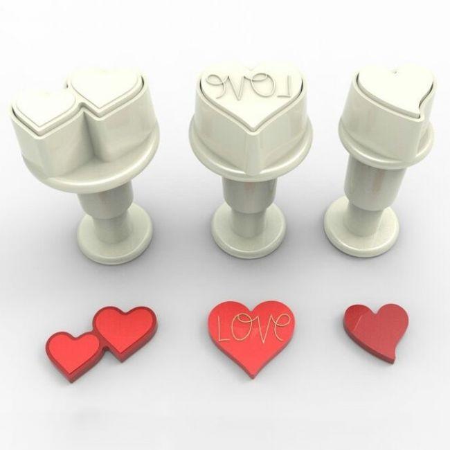 Dekofee Miniutstikker med stempel Diverse hjerter sett/3