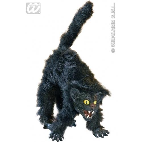 Svart hårete skummel katt - helstørrelse figur, 36cm