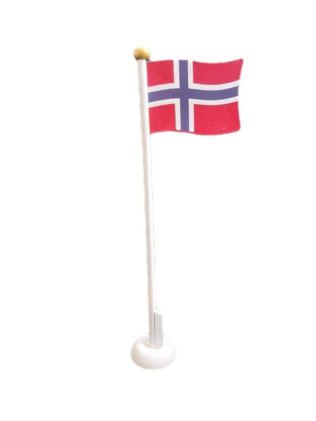 Bordflagg i tre med Norsk flagg
