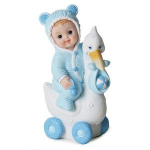 Baby på stork Blå, 15 cm