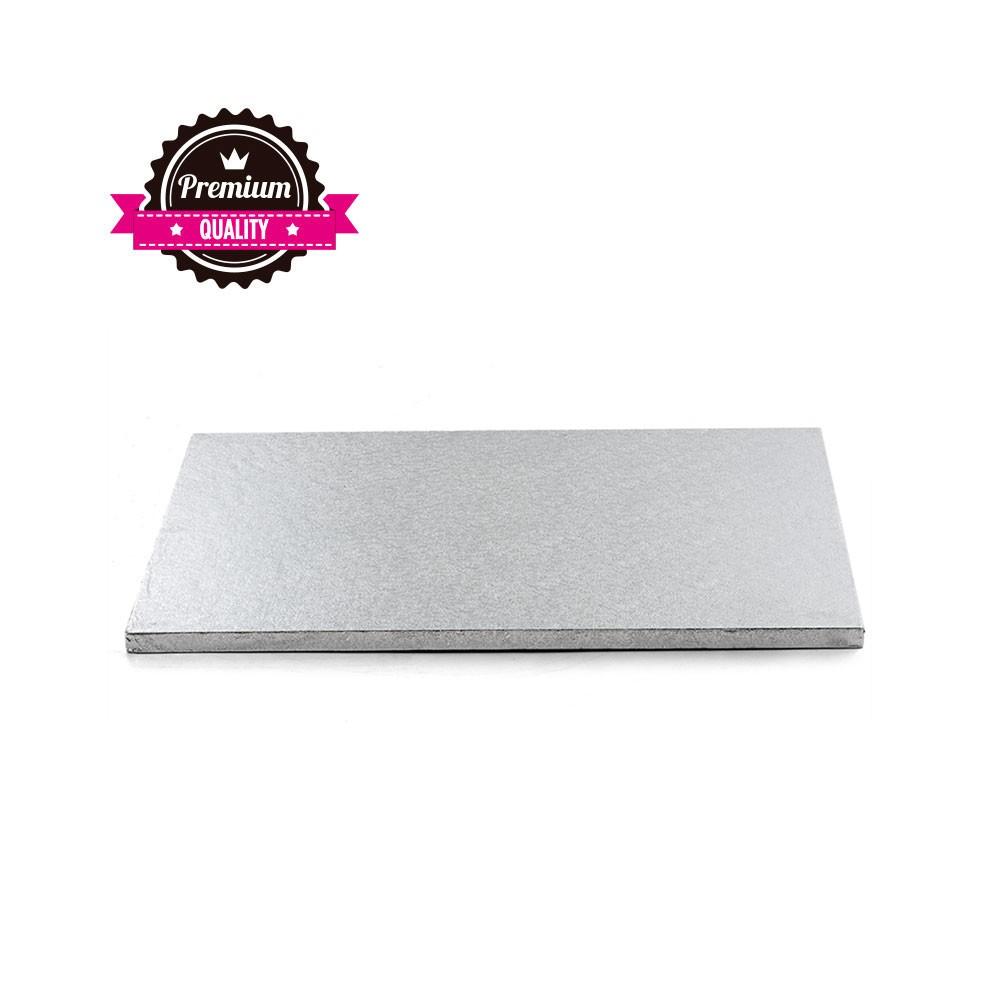 Kake Drum Avlangt Sølv 35x45cm
