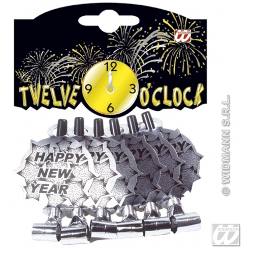 Sølvfargede Happy new year-blowouts, 6 stk