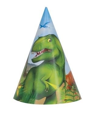 Partyhatter Dinosaur, 6stk