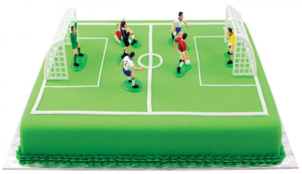 Kaketopper Fotball, spillere og mål til fotballkake, 9 deler
