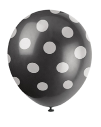 Svarte ballonger med hvite prikker, 6 stk
