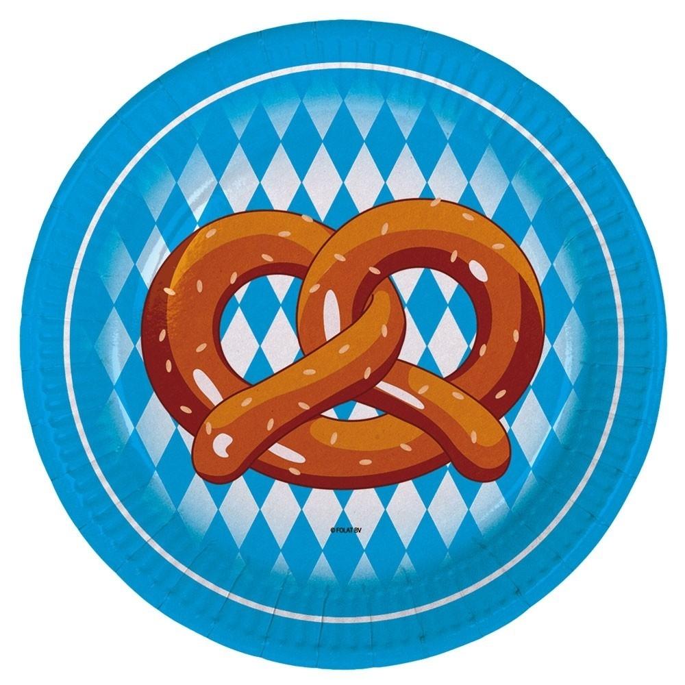 Oktoberfest papptallerken -Pretzel- 18cm, pk/8