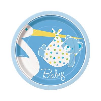 Stork, blå små babyshower engangsfat, 8 stk