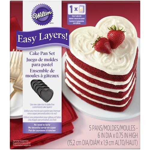 Wilton Hjerte kakeform flerlagskake 15cm, 5 deler