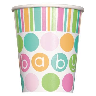 Pastell babyshower beger, 8 stk