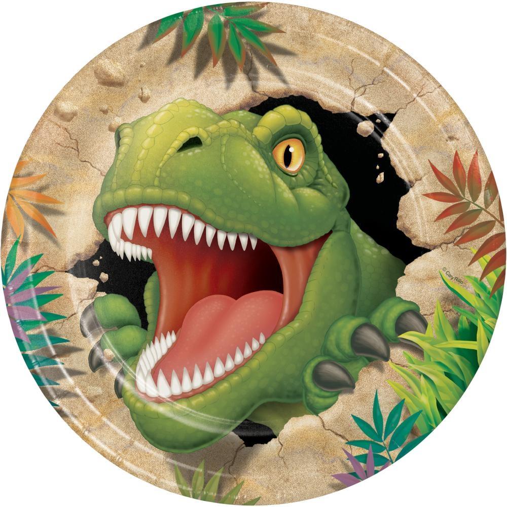 Papptallerken - Dinosaur 23 cm, 8 stk