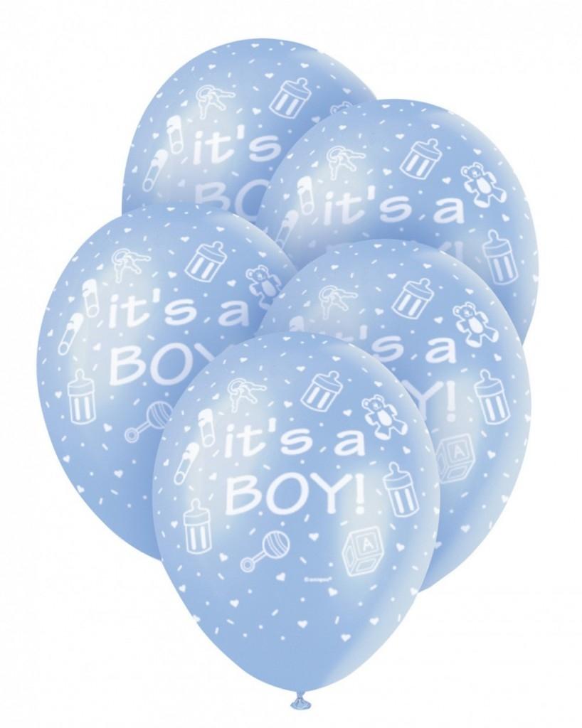 Blå ballong «It's a boy» 30cm pk/5