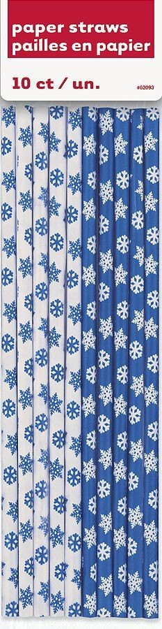 Papirsugerør med snøkrystaller -Blå og Hvit- pk/10