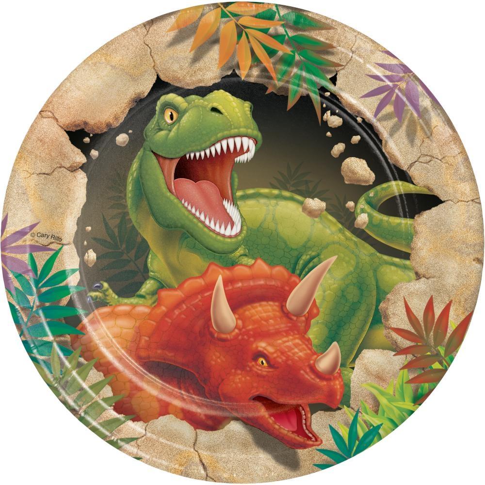 Papptallerken - Dinosaur 18 cm, pk/8