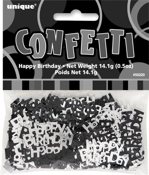 """Konfetti, svart og sølv """"happy birthday"""", uten tall-trykk"""
