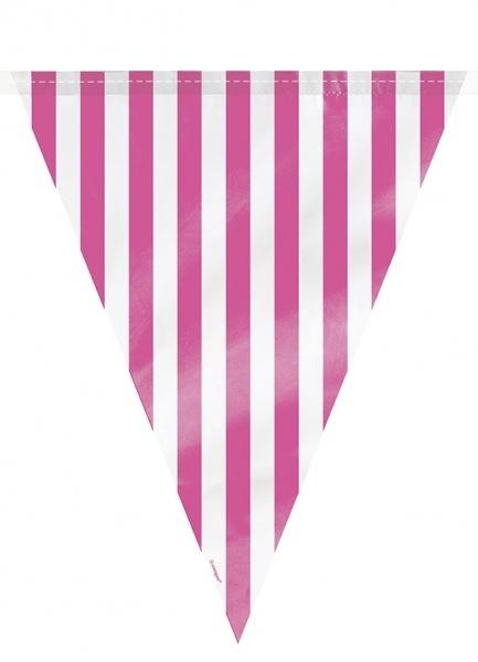 Plastvimpelrekke, stripet hvit og rosa, ca 3,6m