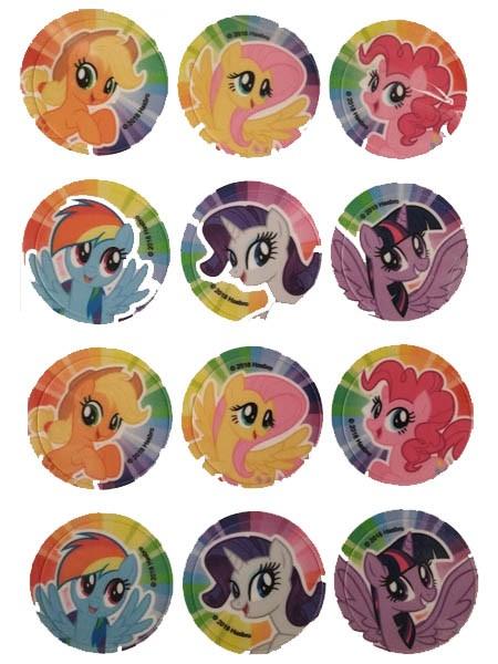 Kjeksbilde sukkerark My Little Pony 6cm, 12 stk