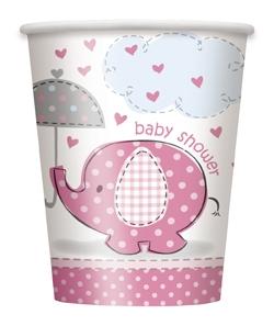 Babyshower elefant, 8 engangsbeger, rosa