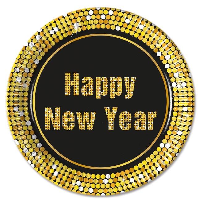 Happy New Year papptallerken 23cm, 8stk