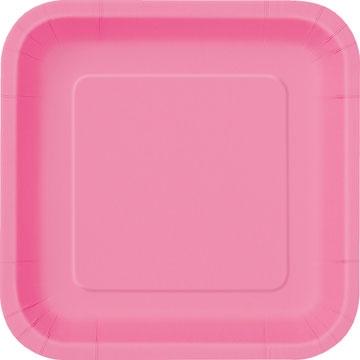 Engangsfat små, Rosa firkantet -Hot pink- 18cm, pk/16