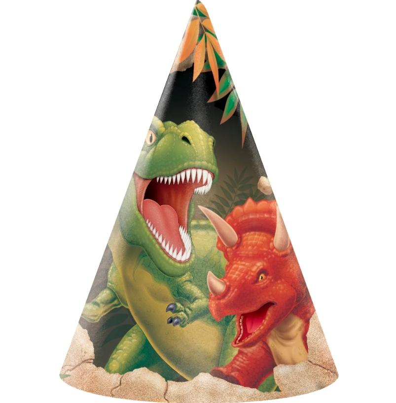 Partyhatter - Dinosaur, 8 stk