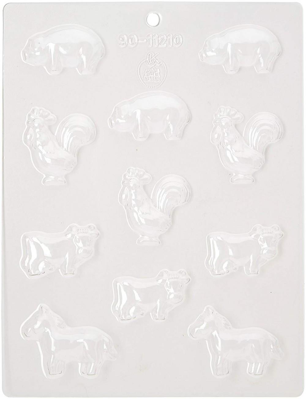Silikomart sjokoladeform i plastikk -Dyr fra gården-