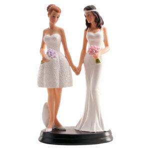 Kaketopp til bryllup med to kvinner -Blomster- 20cm