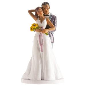 Kaketopp til bryllup -Holder rundt med blomster- 18cm