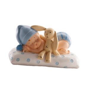Kaketopp dåp - sovende gutt med kosebamse