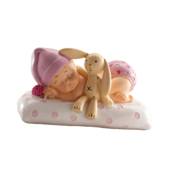 Kaketopp dåp - sovende jente med bamse