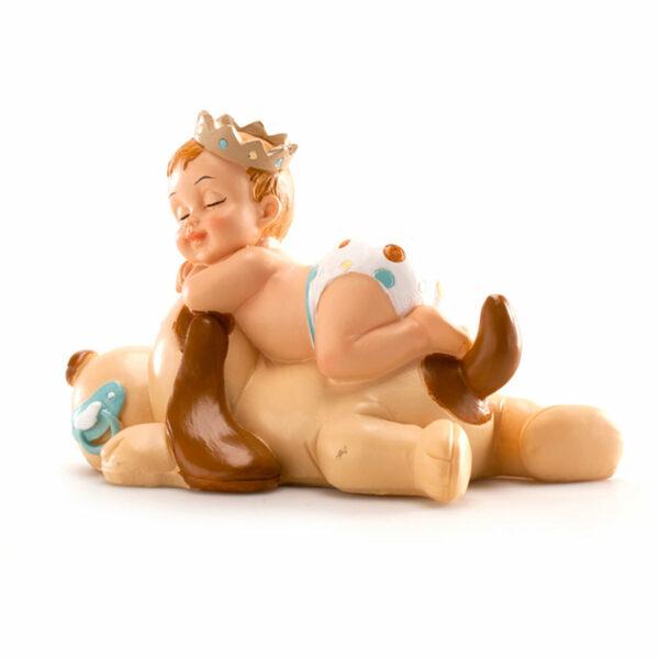 Kaketopp dåp - sovende gutt på hund