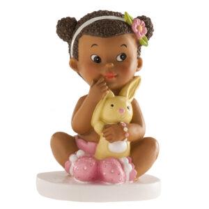 Kaketopp baby -Jente med kanin- 10cm
