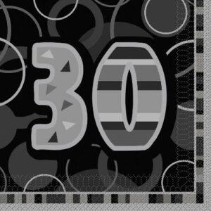 Servietter -30- Svart/sølv, 16stk