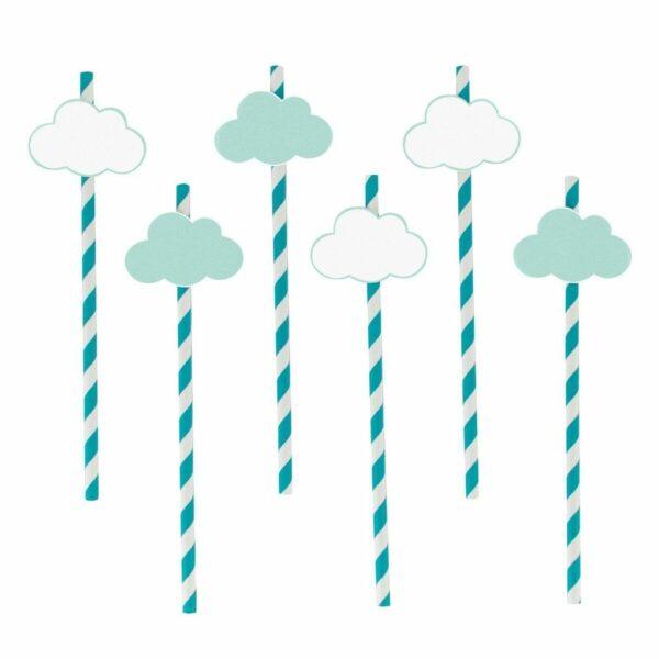 Papirsugerør med skyer -Turkis og Hvit- pk/12