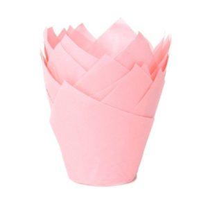 Babyrosa muffinsform tulipan fra House of Marie pk/36