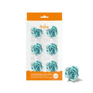 Spiselig kakepynt blå roser