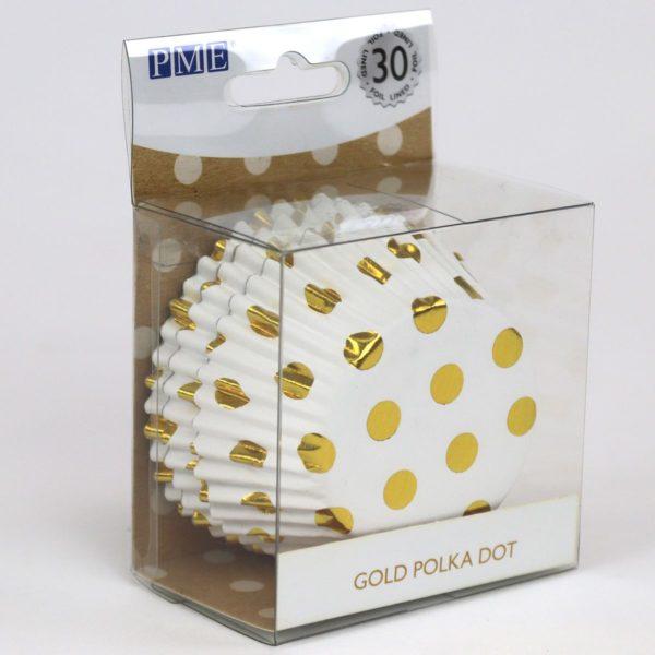 Muffinsformer polkadotter i gull